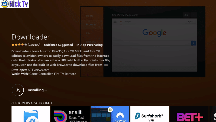 nicktv Downloader fire stick tv